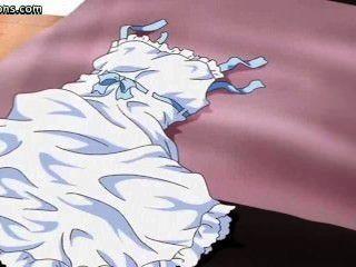 рыжеволосая аниме трется петух с ее сиськи